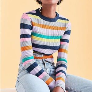 Silence + Noise Multi Color Ribbed Sweater